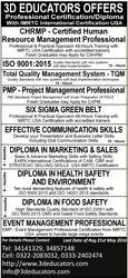 3D Educators Offers Professional Certification/Diploma
