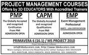 Project Management Courses Offers by 3D Educators