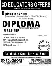 3D Educators Offers Diploma in Sap Erp