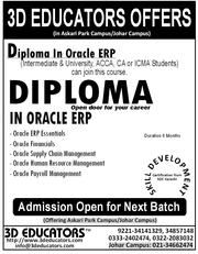 3D Educators Offers Diploma in Oracle Erp